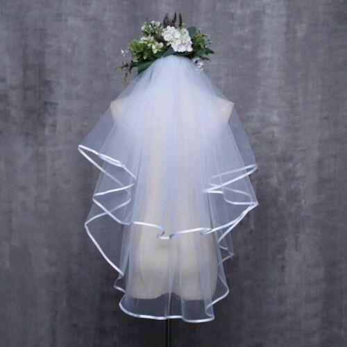 Women Wedding Dress Veil Two Layers Tulle Ribbon Edge Bridal Veils Accessories