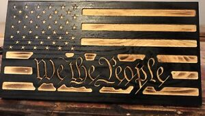 Handmade-US-WE-THE-PEOPLE-American-Wooden-Torched-Wood-Rustic-Primitive-Flag
