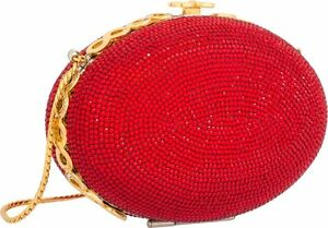 Judith-Leiber-Red-OVAL-Gold-Crystals-Evening-Bag-Minaudiere-Purse-Egg-Vintage