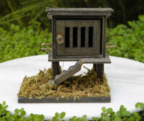 Miniature Dollhouse FAIRY GARDEN Furniture ~ Wood Wooden Chicken Coop ~ NEW