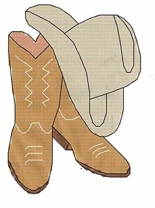 Image is loading COWBOY-BOOTS-with-COWBOY-HAT-CROSS-STITCH-PATTERN 5781f360b82