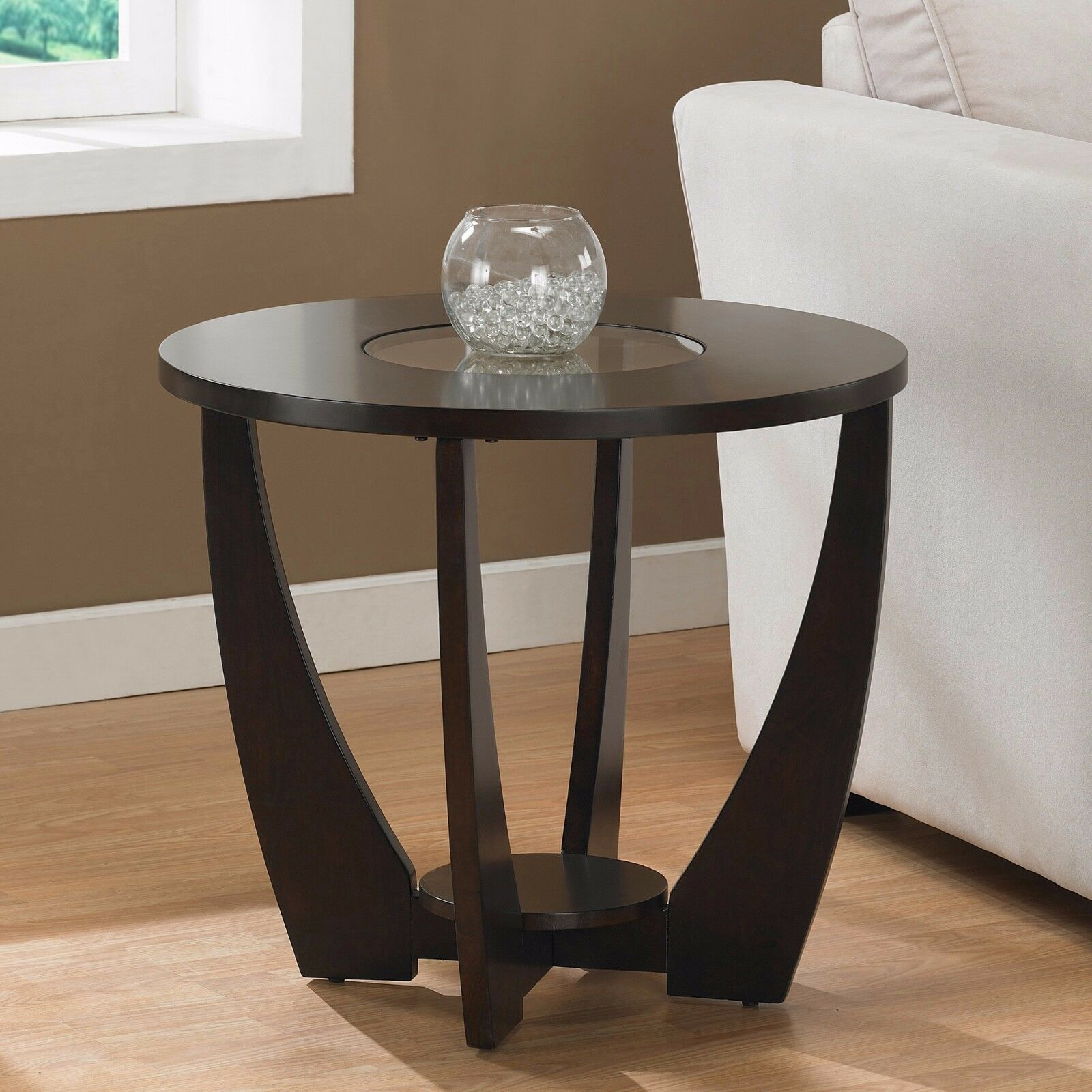 Dark brown round end table with glass top living room for Glass side tables for living room