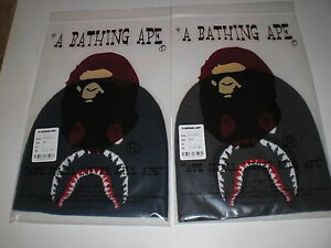 Authentic A Bathing APE BAPE SHARK KNIT CAP BEANIE BLACK NAVY NEW ... e0356a2071d