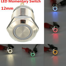 Chrome 4 Pin 12mm LED Light Metal Push on Momentary Switch Waterproof on