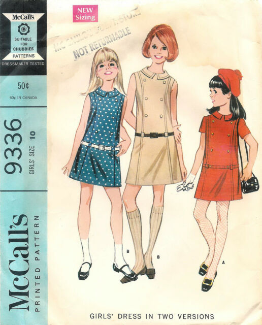 Vintage 1968 Mccall\'s # 9336 Sewing Pattern Girls\' Dress in Two ...