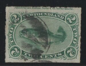 MOTON114-38-rouletted-2c-Newfoundland-Canada-used-well-centered-imprint