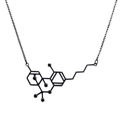 THC MOLECULE EARRINGS, NECKLACE OR SET Marijuana Pot Science Nerd Black Bronze