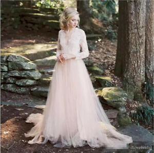 Details About Bohemia Light Pink Lace Tulle Wedding Dress A Line Long Sleeve Beach Bridal Gown