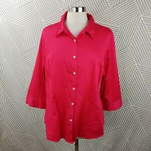 Apt 9 Plus Size 2X 18/20 Button Down 3/4 Sleeve Blouse Jewel Tone Fuchsia cotton