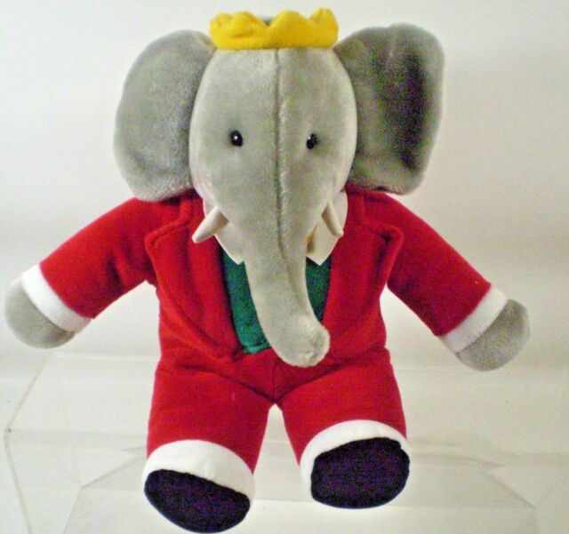 Gund King Babar Elephant Plush Stuffed Animal Red Tuxedo 1988