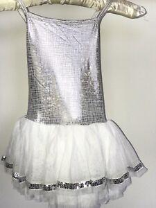 076ff4f3 Love 2 Dance Girls White and silver sequin dress sz 3 - 6 | eBay