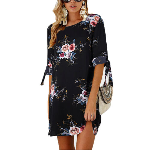 Summer Women Floral Printed Blouse Long Sleeve Tops T-Shirt Dress Plus Size