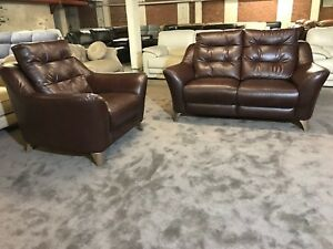 Scs G Plan Pip Brown Leather 2 Seater Sofa And Armchair Wooden