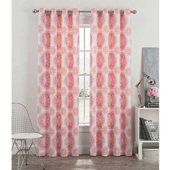 Newport azulsh Medallón Ojal cortina de ventana 63  par de paneles de algodón