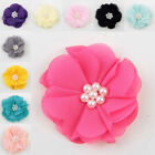 5/20/40PCS Satin Ribbon Rose Flower With pearl Appliques Sew Wedding Craft 50mm