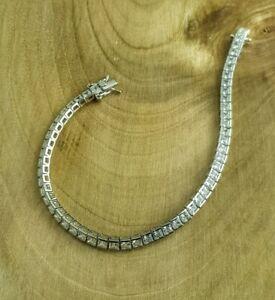 DéVoué Bracelet Argent Massif 925 Sterling Serti Zircon Blanc 200mm De Haute Qualité Et Peu CoûTeux