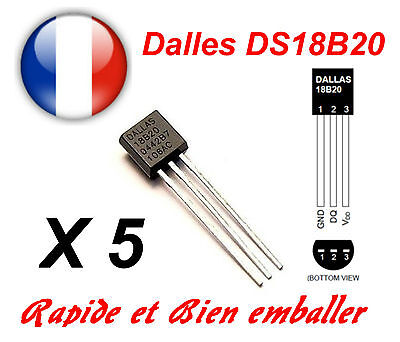 5x Dallas Ds18b20 1-wire Digital Thermometer To-92 Vendite Economiche 50%