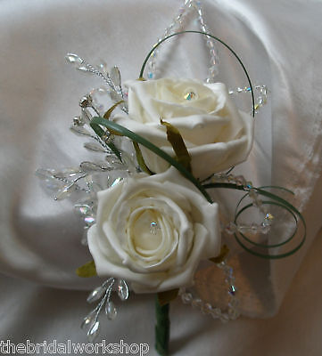 30 Beaded Crystal Leaves Wedding Flowers Bouquet Buttonholes Bridal Corsage