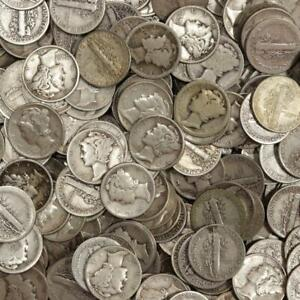 Lot-of-50-Mercury-Dimes-90-Silver-Mixed-Dates-5-Face-Value