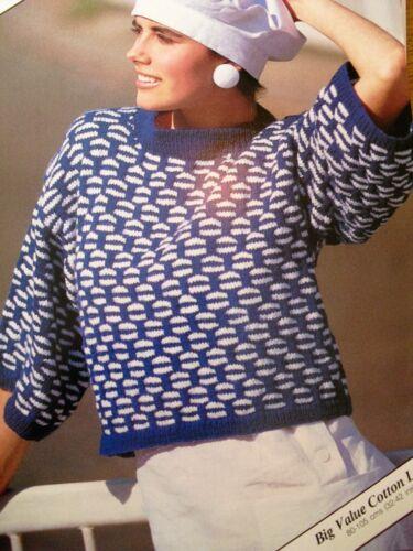 #176 Lady/'s DK Algodón Look 2 Color Sweater Vintage Tejer patrón