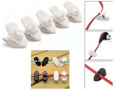 5 x Clips for Headphone Earbud Cable Wire Cord - Clamp Holder Mount - White