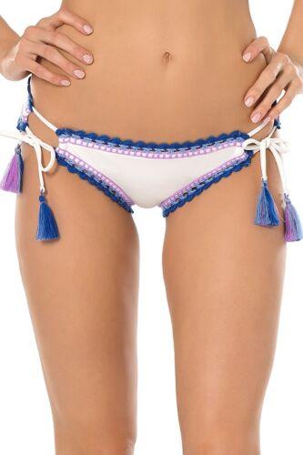 NEW BECCA Blue White Scenic Route Cheeky Tie Sides Bikini Swim Bottom L Large