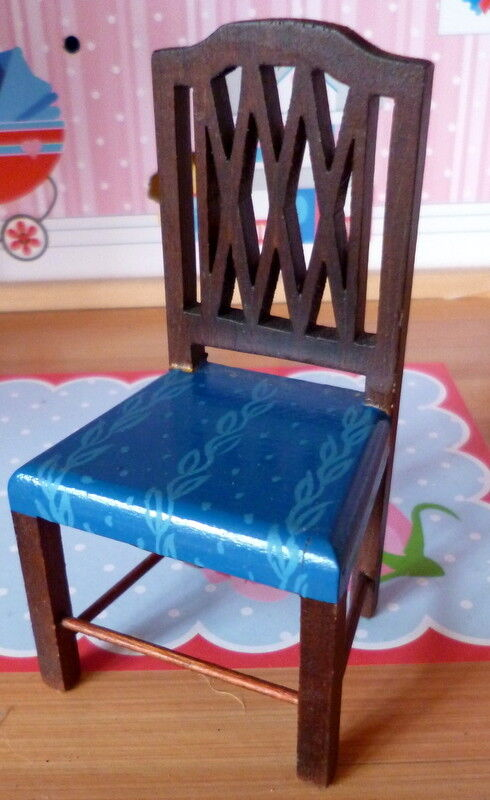 RARE Vintage TYNIETOY Tynie Toy blu PAINTED Sheraton Chair Dollhouse Miniature
