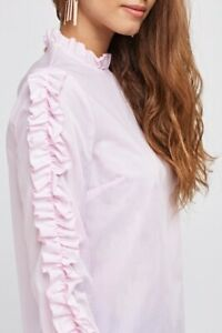 Ex-Primark-Beautiful-Ladies-Pink-Long-Sleeved-Frilled-Ruffle-Choker-Collar-Top