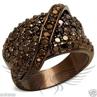 Brilliant Micro Paved Cubic Zircon CZ AAA Coffee Ion Plated Fashion Ring 3W1098