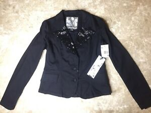 Kensie Tuxedo Black Denim Jean Sequin Blazer Jacket Juniors Size Medium Attractive Designs;