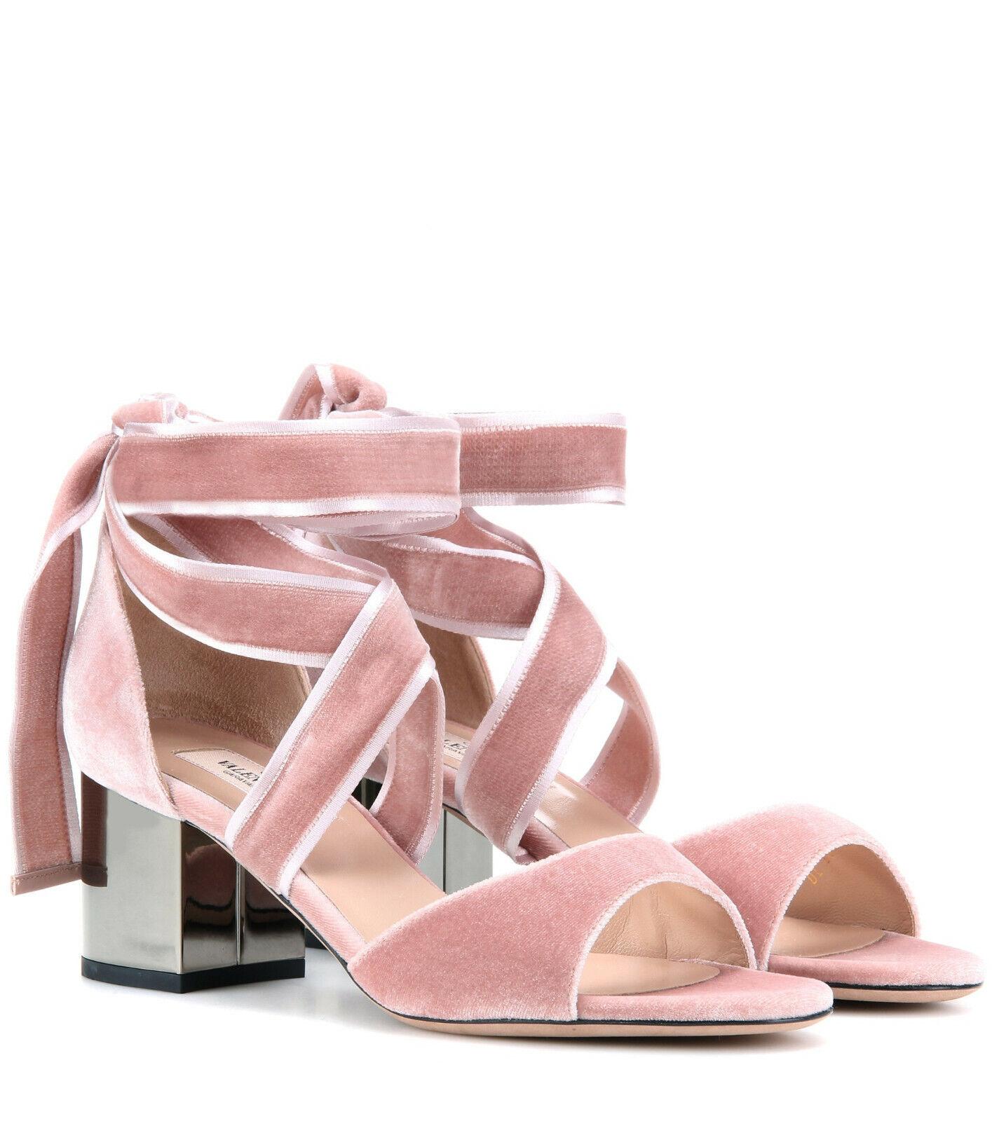Valentino Garavani Velvet Ballet Fever Ankle-Wrap Sandal - New Pink size 5 1 2