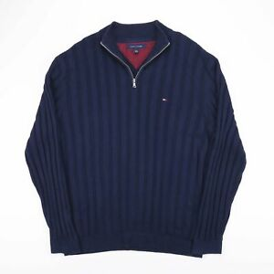 Vintage-Tommy-Hilfiger-Bleu-Pullover-Quart-Fermeture-Eclair-Pull-Homme-Taille-XL