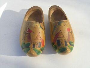 Vintage Hand Carved Shoes Miniature Painted 60s Wooden Dutch Shoes Collectible Miniature Shoe Set