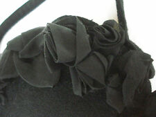 Cristina Bomba, Italy DESIGNER Cashmere Handbag Eve. Purse w/Silk Roses ~ BLACK