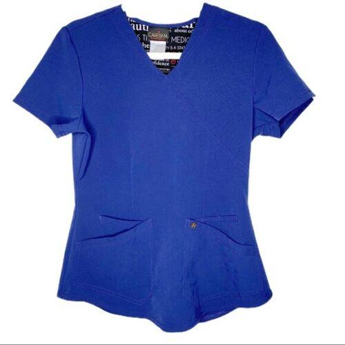 Details about  /Careisma by Sofia Vergara Navy Scrub V-Neck Solid Blue Top Size Small CA610A