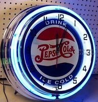 18 Drink Ice Cold Pepsi-cola Sign Double Neon Clock Pepsi
