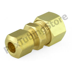 """Compression Fitting Coupling Brass for 3//8/"""" OD Tubing"""