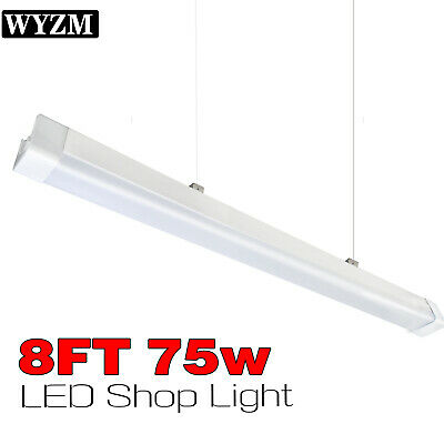 Vapor Proof 8ft 75W 5500K LED Shop Light IP65 Waterproof,6ft Power Cord Wire