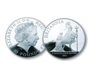 RARE QUEEN ELIZABETH II 2013 BRITANNIA SILVER FIVE OUNCE COIN