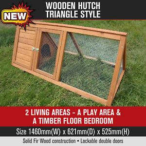 Wooden-Triangle-Hutch-Chicken-Coop-Rabbit-Ferret-Cage-Chook-House-Guinea-Pig