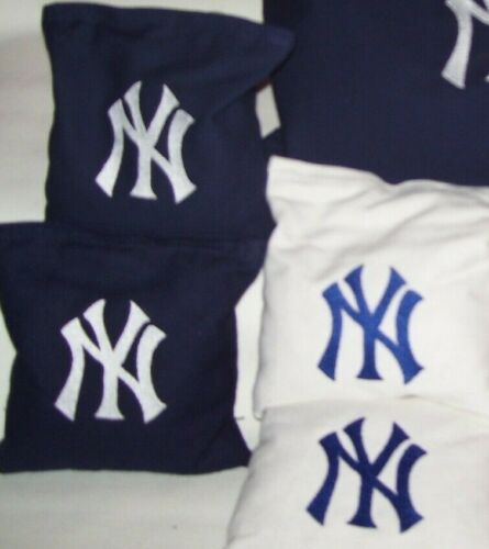 NY Yankees ny Giants Embroidered Corn Hole Bags Set of 8 with Storage Bag