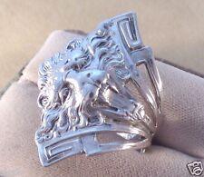 Old Stock Art Deco Lion Sterling Silver 925 Ring skaisJ17