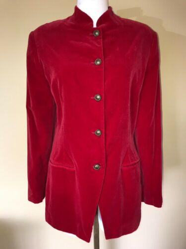 Vintage USA Lord & Taylor Long Red Velvet Blazer M