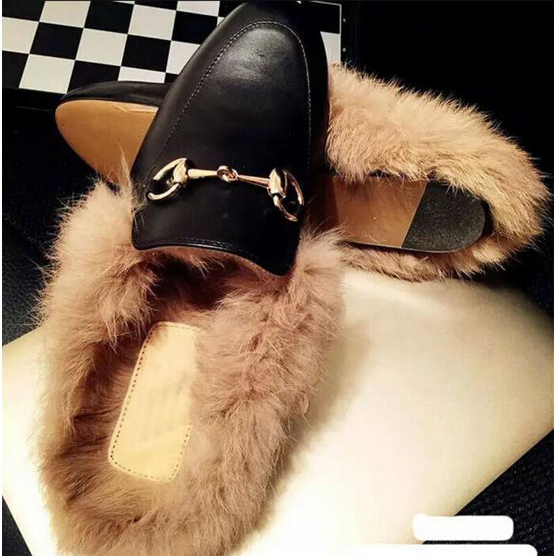 Retro Womens Leather Fur Lined Warm Slippers Flat Metal Decoe Single shoes New
