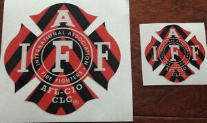 """The 4"""" IAFF Union True Red 3m Reflective Vinyl Firefighter Us Made  Window Decal"""