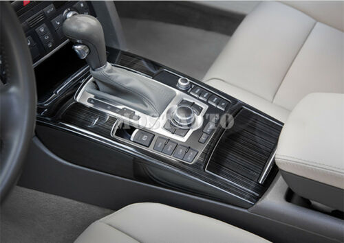 For Audi A6 C6 Black Console Gear Box Water Cup Holder Trim Cover 5pcs 2005-2011