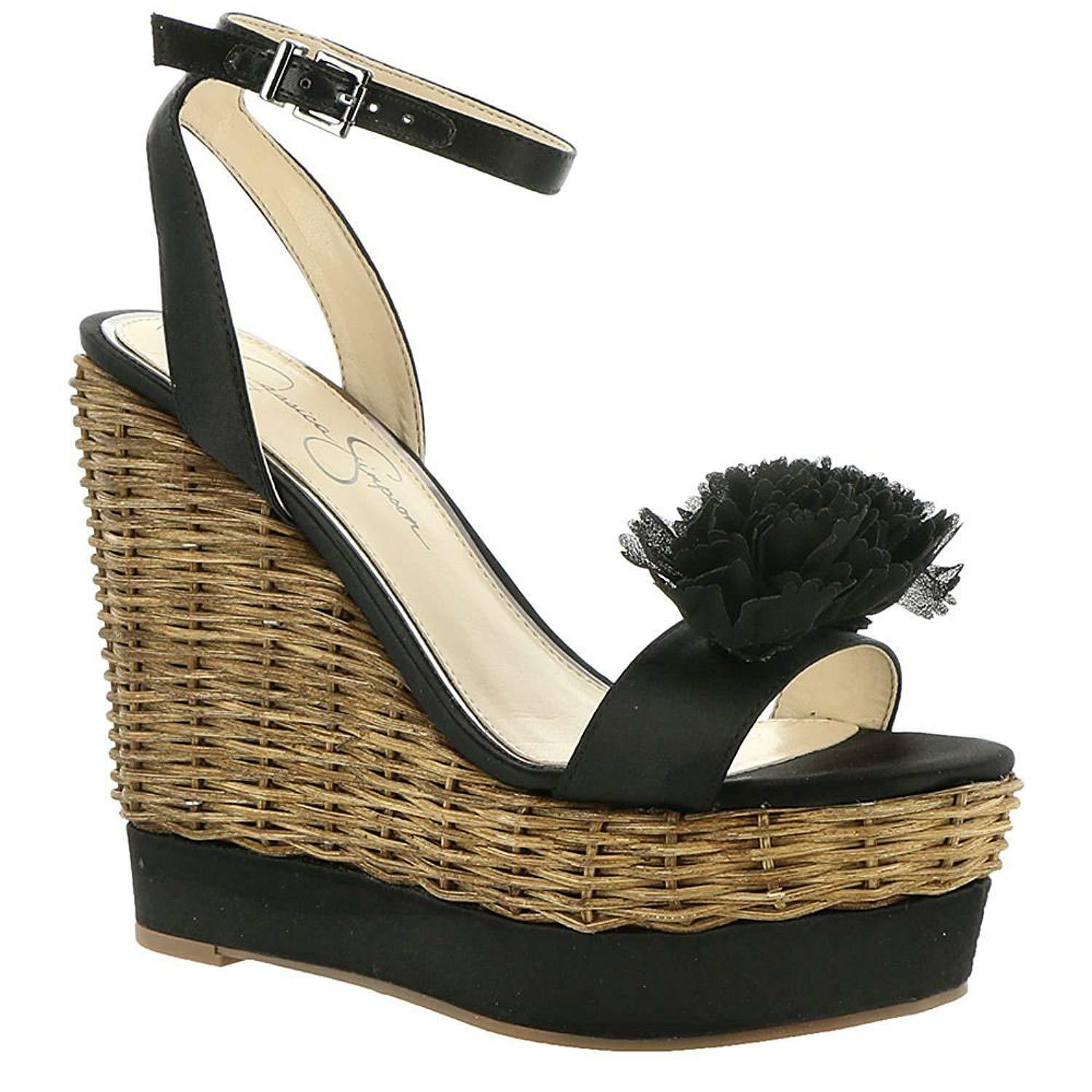 Jessica Simpson Pressa Chiffon Flower Wedge Detail Wedge Flower Sandals, Multi Sizes Black Cr fd119c