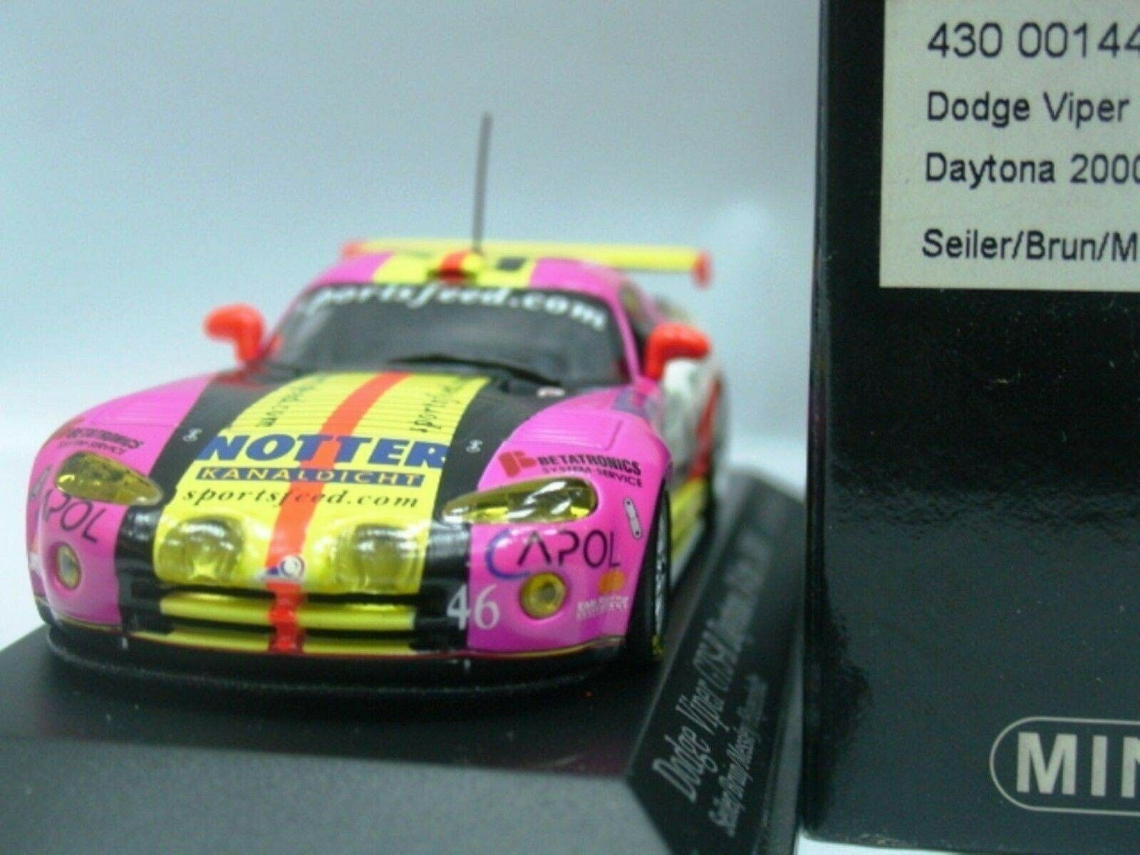 Wow extrêmement rare CHRYSLER VIPER 2000 GTS-R  46 Notter Daytona 1 43 Minichamps