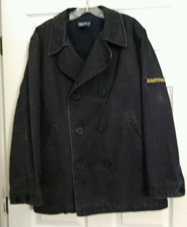 NAUTICA Vintage Navy Heavy Cotton Denim Lined Sailor Double-Breasted Coat Medium