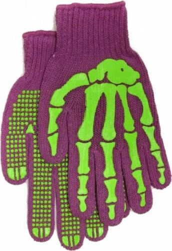 78531 Purple Work Gloves Skeleton Hand Print Bones Design Death Punk Fun Cute